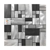 Wholesale Metal Backsplash Tile - Black Metal kitchen backsplash mosaic wall tiles.high quality interior wall decor DIY sticker tile,Aluminium modern tiles art design,LSALD01