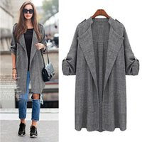 Wholesale Trench Coat Women Basic - Wholesale free shipping European and American Gray Fashion Women Clothing Cotton Loose Long Trench Coat Basic Coat 5XL