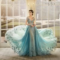 Wholesale Gloves Light Purple - Gorgeous Crystal Elegant Evening Dress With Gloves Sheer Neckline Appliques Short Sleeves Evening Gowns See Through Mermaid Red Carpet Dress