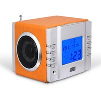 Wholesale Elegant Alarm - elegant wooden multifunction hifi music remote control portable speaker with LCD display support fm tf alarm clock thermometer calendar