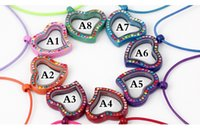 Wholesale Memories Lockets - 30*30cm Curved Love Heart Floating Locket with Coloful Rhinestone Living Memory Glass Locket with Free Chain Choose 8 Colors free ship