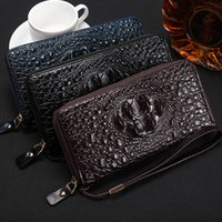 Wholesale Mass Card - Free Shipping-European popular popularity men long zipper crocodile grain mass hand bag