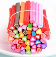Wholesale Polymer Cane Mixed - 50PCS set New Fashion Lovely Women Mixed Colorful 3D Styles Fimo Polymer Clay Cane Nail Stickers DIY Nail Art Decoration Hot