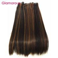 Wholesale 1b 33 Weave - Glamorous Piano Style #1b 30 #4 30 #1b 33 Straight Human Hair Extensions Brazilian Malaysian Peruvian Indian Human Hair Weaves 4 Bundles