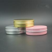kozmetik kutuları toptan satış-Toptan-Ücretsiz kargo 100g Alüminyum Kavanoz, 100ml Kozmetik Alüminyum Kutu, Metal Kutu Pembe Renk altın Renk, Teneke Konteyner, Kalay Ambalaj Pot