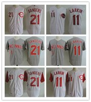 Wholesale Xxl Vests Men - Cincinnati Reds Men's Throwback #11 Barry Larkin Jerseys 21 Deion Sanders White Vest Stripe 1995 Gray Cooperstown Vintage Baseball Jerseys