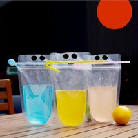Wholesale Wholesale Seal Containers - 450ml Transparent Self-sealed Plastic Beverage Bag DIY Drink Container Drinking Bag Fruit Juice Food Storage Bag OOA2119