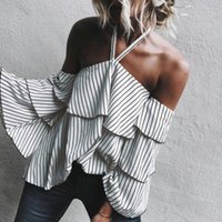 Wholesale Open Flare - Womens Ladies Sexy Casual Halter Loose Striped Long Sleeved Open Cold Shoulder Tops Shirt Blouse