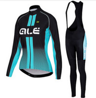Wholesale Cycling Sleeves Winter Wear - 4 Styles ALE Women's Winter Fleece Cycling Jersey Set, Long Sleeve Ropa Ciclismo Mtb Pro Bicycle Cycling Clothing Bike Wear. Gel Pad