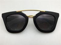 Wholesale full cinemas - New spr sunglasses 09Q cinema sunglasses coating mirror lens polarized lens vintage retro style square frame gold middle women designer