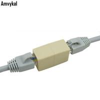 conector de red modular conector rj45 al por mayor-Amvykal red Ethernet Lan Cable Extender Plug Modular 8P8C RJ45 CAT5 CAT5E CAT6 Conector de cable Joiner Extensión Convertidor Acoplador