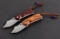 Wholesale best pocket knife for camping resale online - Small Damascus Folding Knife Rosewood Handle EDC Pocket Knives With Nylon Bag and Retail box Best Gift For Children EDC Tools