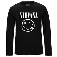 Wholesale Nirvana Top - New Brand Nirvana Music Rock Print Long Sleeve Smile Face Funny T Shirt Man Tee Casual T-shirt Hiphop Top Poloshirt Shirt Men