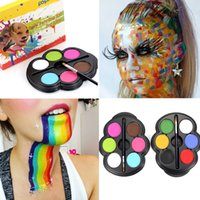 Wholesale Palette Painting - Popfeel Brand Rainbow Body Paint Color Neon UV Glowing Face Painting Palette Temporary Tattoo Schmink Pigment Halloween Makeup