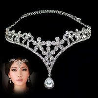 Wholesale Elegant Wedding Bridal Jewelry Headpiece - Elegant Bridal Jewelry Headpieces Crown 2017 Stock Silver Jewelry Rhinestone Crystal Fashion Hair Accessories for Wedding Party Girls
