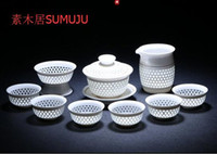 Wholesale Kung Fu Teapot Set China - Jingdezhen craft blue and white porcelain, exquisite tea set, honeycomb hollow ceramic, kung fu tea set, teapot, teacup, sea
