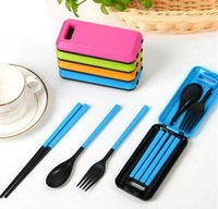 Wholesale portable plastic cutlery sets - Portable Folding Travel Dinnerware Set Korean Tableware Cutlery Fork Chopsticks Set For Kids Bento Lunch Box Accessories