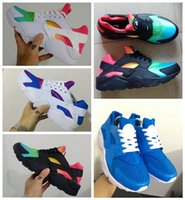 Wholesale Outdoor Lighting Multi Color - 2017 new color rainbow red white black breathable huarache shoes men and women chaussure huarche femme hurache homme running shoes
