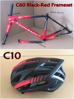 Wholesale Carbon Cycle Frames - Free shipping Road bike Red-Black Frameset+Cycling Helmet on sale , 4D prevailed Helmet+3K UD C60 carbon road frame with BB386 XS-S-M-L-XL