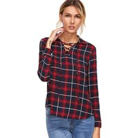 Wholesale Womans Xl Blouses - 2016112108 Korean Fashion Clothing Womens Tops and Blouses Fall Womans Clothes Burgundy Lapel Tartan Plaid Lace Up Blouse