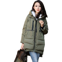 Wholesale Worsted Coat For Women - 2016 Winter Jacket Women New Fashion Loose Coat Female Hoody Long Plus Size Down Parka Jackets For Women A019