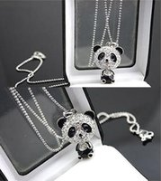 Wholesale Panda Accessories - Pretty Enamel Rhinestone Panda Pendant Necklace Women Crystal Accessories Sweater Necklaces Jewelry Free Shipping