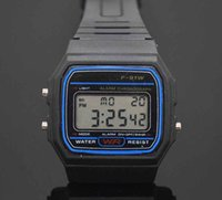 Wholesale square watch silicone led - Led Digital Black plastic watches men's Sports Watch luminous F91W electronic WristWatch Ultra thin LED electronic watch