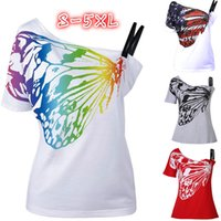 Wholesale Women S American Flag Shirt - Casual Women American Flag Rainbow Butterfly Print Tee S-XXXXXL Short Sleeves Off Shoulder Skew Collar Sexy T-Shirt