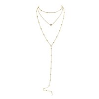 Gold-Color Silver Color Longo Link Chain With Beads Coração Shape Multi Layer Chain Necklace For Women Acessórios
