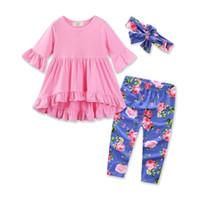 Wholesale Fashion Boutique Color Line - 2017 Girls Baby Clothing Sets Asymmetrical Dresses Blue Floral Pants Headbands 3Pcs Set Fashion Girl Kids Princess Dress Boutique Clothes