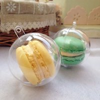 Wholesale Clear Plastic Cupcake Boxes - 5cm Diameter Macaron Ball Plastic Hollow Ball Decorative Transparent clear Macaron box plastic cake Ball Box with hanging hole