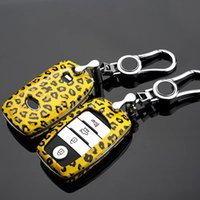 Wholesale Kia Smart Key Case - Leopard Carbon Fiber key cover case For Kia Rio k2 Sportage k3 Cerato Sorento Ceed Soul smart key