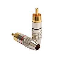soldadura rca plug al por mayor-20 Unids \ Bolsa Rca Adaptador de Enchufe Macho Audio Phono Chapado en Oro Conector de Soldadura