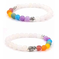 Wholesale invisible elephant - Oil Diffuser Bracelet White Elephant Colorful Yoga Energy Bracelet Hand String Weathered Colorful Agate Bracelet For women Free DHL D129S