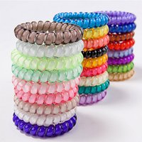 Wholesale Rubber Band Bracelet Hair Rope - 6 pcs Popular Scrunchies Telephone Wire Gym For Ladies Elastic Hair Band Rope Candy Colored Bracelet Large size Scrunchy Free Shipping