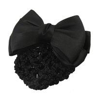 новый клип для волос оптовых-Оптово-Новый практичный черный бантом декор Snood Чистая заколка для волос Зажим для булочки
