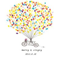 Wholesale Customized Wedding Paintings - Wholesale- Customized Wedding Fingerprint Tree DIY Love Bike Signature Guest Book Painting for wedding Birthday Party Decoration