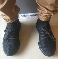 Wholesale Shape M - DHL epacket 2017 Pirate Black Updated Version 350 V1 Wide Bottom Green Suede Correct Shape with Box Kanye West 350 Running Shoes