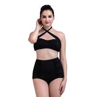 Wholesale plus size strappy swimwear online - Plus Size High Waist Strappy Women s Bikini Set Summer Slim Bodycon Classic Black Push Up Halter Swimwear For Women