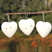 Wholesale Plastic Heart Ornament - Xmas Ornaments White Plastic Christmas Hanging Decorations Set Shaped In Star Heart Bell And Shoes With Retail Package Drop Shipping