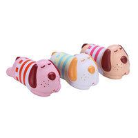 1 pieza Jumbo Dog perfumado Squishy Slow Rising Vlampo Squishy Toys Squishies con ropa a rayas Cute Licensed Original 3 colores