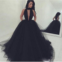 Black Sexy High Neck Prom Dresses Backless Front Key Hole Vestidos Festa Ball-Gown Halter Puffy Tulle Длинные вечерние вечерние платья, сделанные в Китае