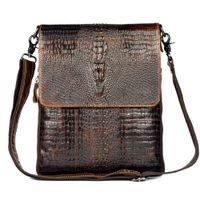 Wholesale Leather Handbag For Tablet - Wholesale-First Layer Cow Skin 100% Genuine Leather Bag For Men Crocodile Style Men's Business Messenge Bag Tablet PC handbag