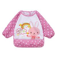 Wholesale Waterproof Apron Bibs For Babies - Wholesale- New Children Bib Cartoon Printed Long Sleeve Baby Bib Infant Waterproof Apron Clothing 8 Pattern for Choose X16