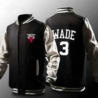 Wholesale Mens Long Coat Pattern - New Hot Sale Basketball Chicago Dwyane Wade Bulls Heat Mens Baseball Jacket Casual Sweatshirt Sports Coat Baseball Uniform
