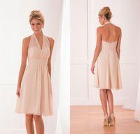 Wholesale Chiffon Halter Knee Length - Simple chiffon knee length short a line mother of the bride dresses halter neck zipper back maid of honor wedding guest dress