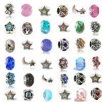 ingrosso 925 perle di stile pandora-Mescolare la lega di cristallo fascino retrò grande foro perlina di vetro con 925 francobollo moda donna gioielli stile europeo per la promozione braccialetto pandora