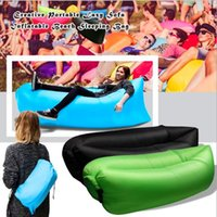 Wholesale Quick Inflatable laybag Sleeping Bag Leisure Hang out Lounger Air Camping Sofa Beach Nylon Fabric sleep Bed Lazy Chair free ship