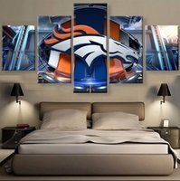 Wholesale Huge Decor Modern Abstract - Framed Huge 5 Panel hand-painted Modern Abstract Animal Denver Broncos Sport Home Decor Wall Art Oil Painting On Canvas Multi sizes R82