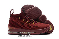 Wholesale Denim Flowers Shoes - LeBron 15 Wine-Red Gold For Sale James 15 with Zipper Basketball Shoes For Men KITH x LBJ 15s Wolf Grey Flowers Airs